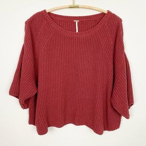 FREE PEOPLE Rayanne Shaker Sweater M Slouchy Crop